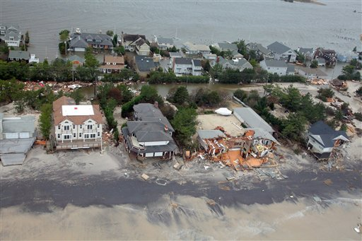 © This Oct. 30, 2012 file photo provided by the U.S.Air Force shows an aerial view of damage to the New Jersey shoreline following Superstorm Sandy.