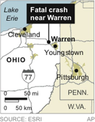 © Map locates Warren, Ohio, near the location of a fatal SUV crash.