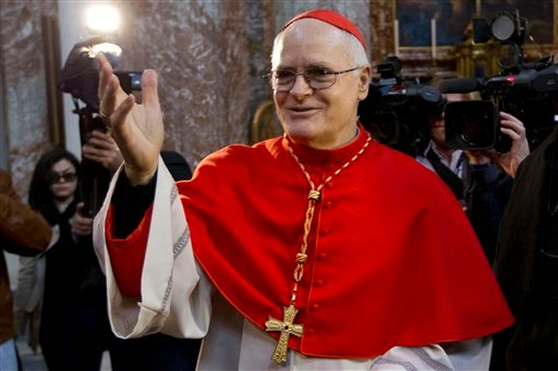 © Cardinal Odilo Pedro Scherer arrives to celebrate mass in the Sant' Andrea al Quirinale church, in Rome, Sunday March 10, 2013.