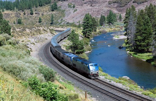  This undated image provided by Amtrak shows the California Zephyr train near Truckee, Calif.