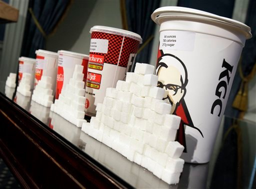 FILE - This May 31, 2012 file photo shows a display of various size cups and sugar cubes at a news conference at New York's City Hall. (AP)