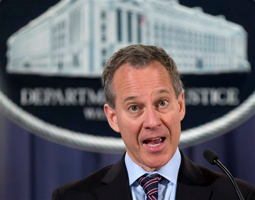 n this Oct. 2, 2012 file photo, New York Attorney General Eric Schneiderman speaks during a news conference at the Justice Department in Washington. (AP Photo/Carolyn Kaster, File)