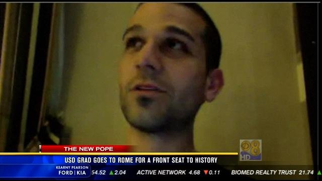This is a video screen image of USD graduate Craig Smith who spoke with News 8 via Skype.