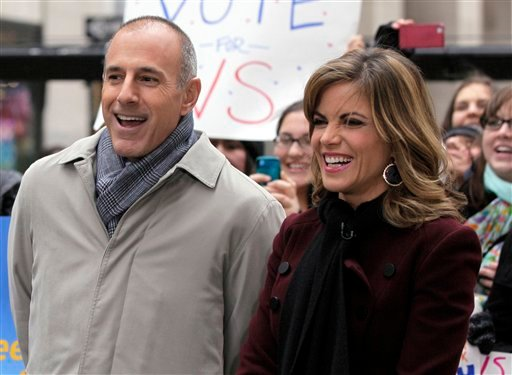 """FILE - In this Nov. 7, 2012 file photo, NBC """"Today"""" co-host Matt Lauer, left, and the program's newswoman Natalie Morales, appear during a segment of the show in New York's Rockefeller Center. (AP)"""