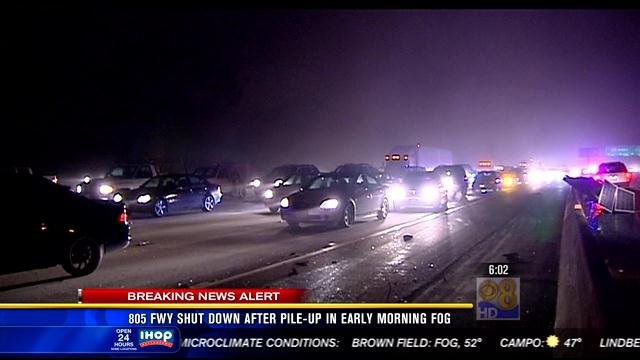 Traffic back-up on northbound I-805, while crews try to clear the scene after a multi-vehicle collision around 3:30 a.m. Friday, March 15, 2013.