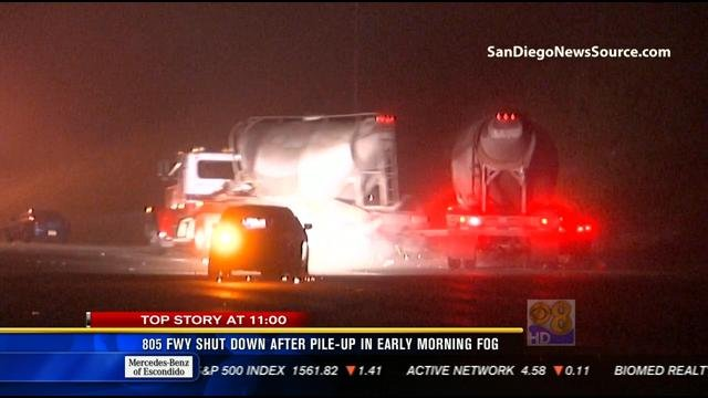 This video screen image shows big rig as it's crashing into a vehicle on NB I-805 during a multi-vehicle collision the morning of Friday, March 15, 2013.
