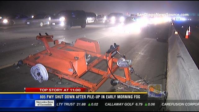 This video screen image shows a Caltrans construction sign on NB I-805 that was reportedly hit by a driver, causing a multi-vehicle crash the morning of Friday, March 15, 2013.