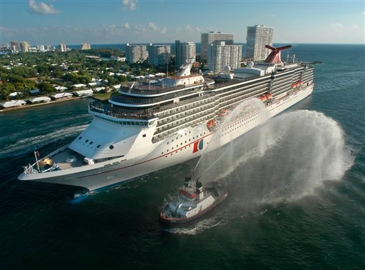 ? The Carnival Legend, a 2,100-passenger, 960-foot-long cruise ship arrives at Port Everglades in Fort Lauderdale, Fla., in this Nov. 8, 2002 file photo.