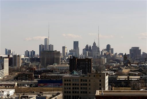 © The skyline of the city of Detroit is shown Thursday, March 14, 2013. Gov. Rick Snyder announced that he has chosen Kevyn Orr, a partner in the Cleveland-based law and restructuring Jones Day firm, as Detroit's emergency manager.