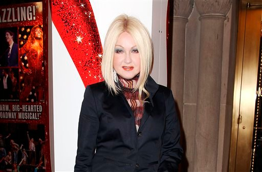 """? This Feb. 28, 2013 photo released by Starpix shows, Cyndi Lauper at the open house for the Upcoming Musical """"Kinky Boots,"""" featuring Music by Cyndi Lauper, at the Al Hirshfeld Theatre in New York."""
