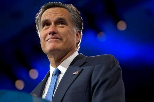 Former Massachusetts Gov., and 2012 Republican presidential candidate, Mitt Romney pauses while speaking at the 40th annual Conservative Political Action Conference in National Harbor, Md., Friday, March 15, 2013. (AP Photo/Jacquelyn Martin)