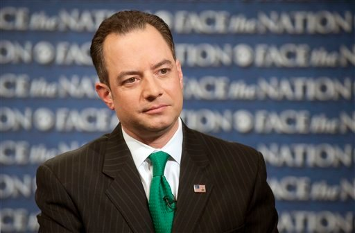 "? In this Sunday, March 17, 2013, photo provided by CBS News, Republican National Committee Chairman Reince Priebus speaks on CBS's ""Face the Nation"" in Washington."