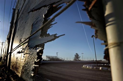 ? This Sunday, March 17, 2013, photo shows the racetrack where a sprint car accident killed two people on Saturday, March 16, at Marysville Raceway Park in Marysville, Calif.