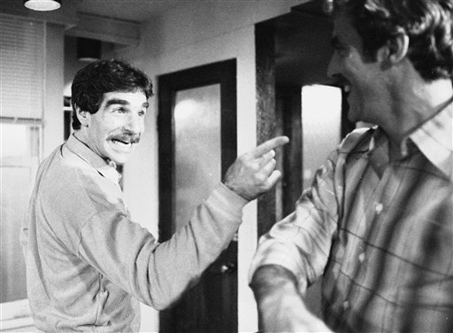 "In this Nov. 11, 1979 file photo, Harry Reems rehearses for his legitimate theater debut in an Off-Broadway comedy-drama, ""The Office Murders,"" in New York. (AP)"