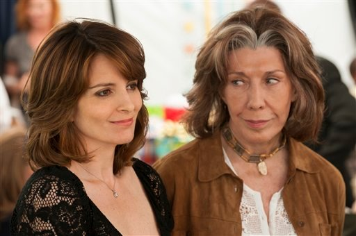 "This film image released by Focus Features shows Tina Fey, left, and Lily Tomlin in a scene from ""Admission."" (AP Photo/Focus Features, David Lee)"