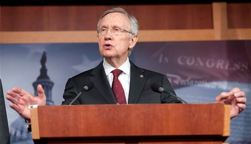 ©  In this March 14, 2013 file photo, Senate Majority Leader Harry Reid, D-Nev., speaks during a news conference on Capitol Hill in Washington.