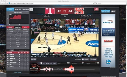 This screen shot shows Turner's NCAA MArch Madness Live website. The site allows those who don't have cable or satellite an option to view all 67 games online for a one-time fee of $4. ( AP Photo/Turner)