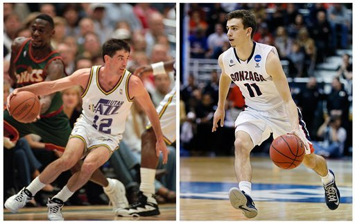 ? In this photo combo, Utah Jazz guard John Stockton, left, drives towards the basket during an NBA basketball game, Thursday, May 30, 1996, in Salt Lake City; while at right, Gonzaga's David Stockton, John's son, brings the ball up the court during NCAA.