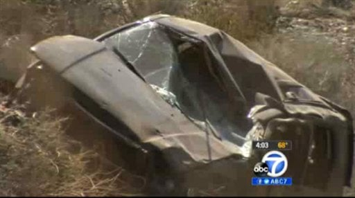 This video frame curtesy KABC TV Los Angeles shows a crash of an SUV in Action, Calif. on Sunday, March 24, 2013. (AP)