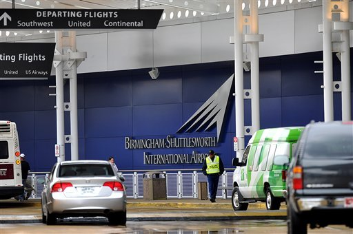 A flight information sign at the newly renovated Birmingham-Shuttlesworth International Airport in Birmingham, Ala., fell on a mother and her three children Friday afternoon, March 22, 2013.