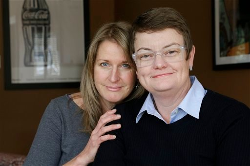 This photo taken Feb. 8, 2013, shows Sandy Stier, left, and Kris Perry, the couple at the center of the Supreme Court's consideration of gay marriage, at their home in Berkeley, Calif.
