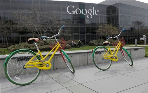 Google bicycles are shown at the Google campus in Mountain View, Calif., Friday, March 15, 2013. Companies say extraordinary campuses are a necessity, to recruit and retain top talent, and to spark innovation and creativity in the workplace.