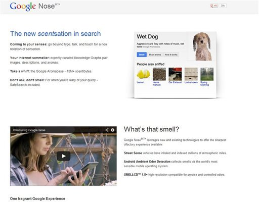 This frame grab image released by Google shows the Google Nose site, a parody site in celebration of April Fools' Day.