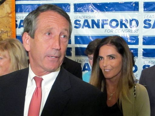 Former South Carolina Gov. Mark Sanford, with his fiancee Maria Belen Chapur at his side, addresses supporters in Mount Pleasant, S.C., on Tuesday, April 2, 2013, after winning the GOP nomination for the U.S. House seat he once held. (AP)