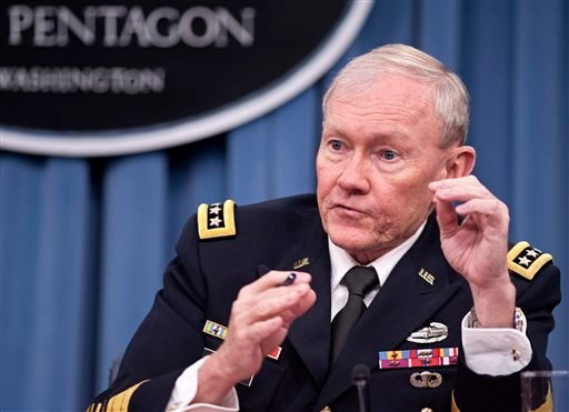 In this Jan. 24, 2013 file photo, Joint Chiefs Chairman Gen. Martin Dempsey takes part in news conference at the Pentagon in Washington.