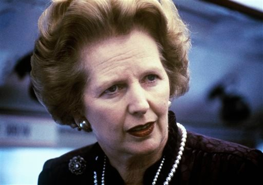 """This is a 1969 file photo showing Margaret Thatcher. Ex-spokesman Tim Bell says that former British Prime Minister Margaret Thatcher has died. She was 87. Bell said the woman known to friends and foes as """"the Iron Lady"""" passed away Monday morning,"""