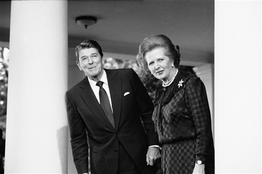 In this June 23, 1982 file photo, President Ronald Reagan and British Prime Minister Margaret Thatcher speak to reporters at the White House in Washington.