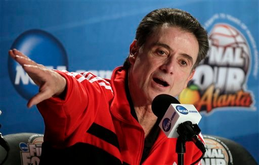 Louisville head coach Rick Pitino answers a question during a news conference for their NCAA Final Four tournament college basketball game Sunday, April 7, 2013, in Atlanta.