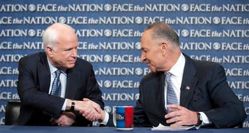 "In this photo released by CBS News Sen. John McCain, R-Ariz., and Sen. Chuck Schumer, D-N.Y., appear on Sunday, April 7, 2013, on's CBS's ""Face the Nation""."
