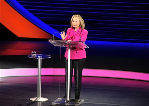 This image released by Women in the World shows former Secretary of State Hillary Rodham Clinton speaking at the Women in the World Conference on Friday, April 5, 2013, in New York. (AP)