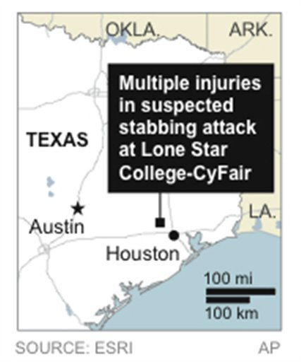 Map locates Lone Star College's CyFair campus, where a stabbing attack on campus left multiple wounded. (AP)