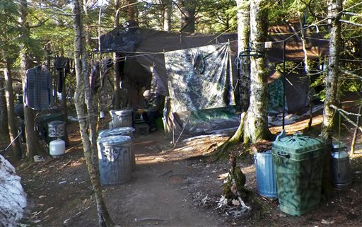 This photo released Wednesday, April 10, 2013 by the Maine Department of Public Safety shows a camp in a remote, section of Rome, Maine, where authorities believe Christopher Knight lived like a hermit for decades. (AP)