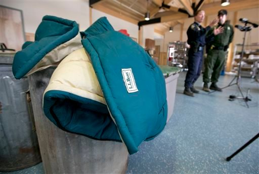 A sleeping bag was one of the many items removed from the camp used by Christopher Knight, Thursday, April 11, 2013, in Rome, Maine. (AP)
