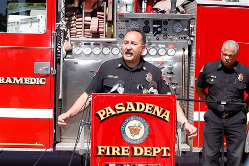 Art Hurtado, Pasadena Fire captain and paramedic takes questions during a news conference in Pasadena, Calif., Thursday, April 11, 2013. (AP)