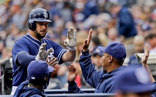 San Diego Padres starting pitcher Edinson Volquez works the first inning against the Colorado Rockies in a baseball game on Saturday, April 13, 2013, in San Diego. (AP photo/Lenny Ignelzi)