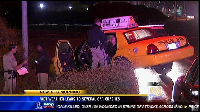 A taxi spun off the road around 9:00 p.m. Monday, April 15, 2013 on the Mission Center Road on-ramp to westbound Interstate 8.