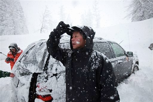 This photo taken Saturday, April 13, 2013 shows Won Shin, 56, of Mukilteo, Wash. who was among the four who made it off the mountain first. (AP Photo/The Seattle Times, Ken Lambert)