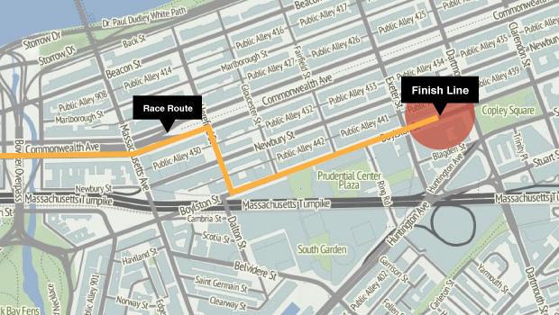 Boston Marathon route and finish line / CBS News / Stamen