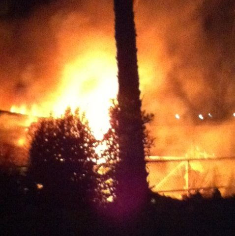 This photo submitted by News 8 viewer Barbara shows a fire at an El Cajon home early Tuesday morning.