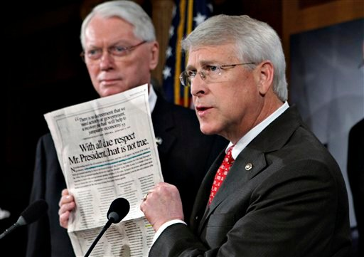 Jan. 29, 2009 File Photo: Sen. Roger Wicker, R-Miss., speaks during a news conference at the Capitol. Senate Majority Leader Reid said April 16, 2013, that letter with ricin or another poison was sent to Wicker. (AP Photo/J. Scott Applewhite, File)