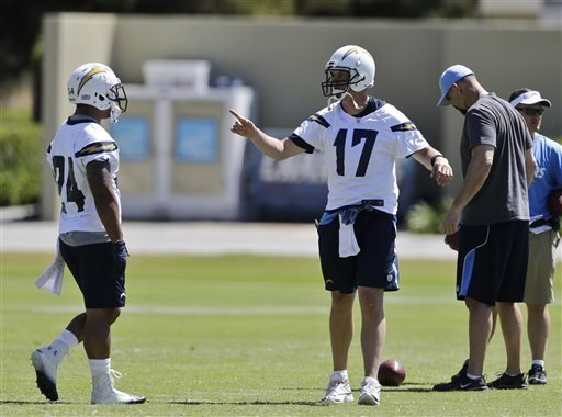 San Diego Chargers quarterback Philip Rivers (17) gives instructions to receivers during NFL football minicamp Thursday April 18, 2013 in San Diego.