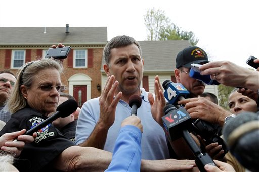 Ruslan Tsarni, the uncle of the Boston Marathon bombing suspect, speaks with the media outside his home in Montgomery Village in Md. Friday, April, 19, 2013. Tsarni urged his nephew to turn himself in. (AP Photo/Jose Luis Magana)