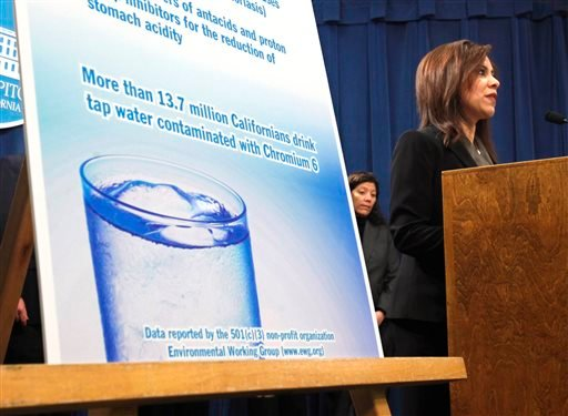 File - In this Feb. 22, 2011 file photo, Assemblywoman Nora Campos, D- San Jose, discusses her proposed measure that, if approved, will require California health regulators to establish a standard level for Hexavalent chromium in state drinking water. AP