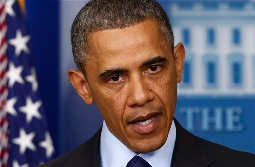 President Barack Obama speaks in the Brady Press Briefing at the White House in Washington, Friday, April 19, 2013, regarding the Boston Marathon bombing. (AP Photo/Charles Dharapak)