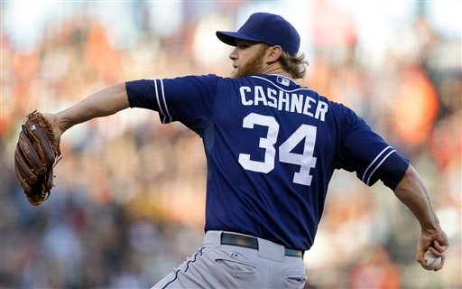 San Diego Padres' Andrew Cashner works against the San Francisco Giants in the first inning of a baseball game on Saturday, April 20, 2013, in San Francisco. (AP Photo/Ben Margot)