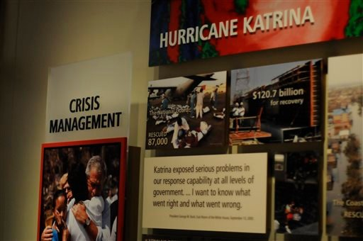 In this photo taken April 16, 2013, an exhibit is shown in the museum area at the George W. Bush Presidential Library and Museum in Dallas. (AP)